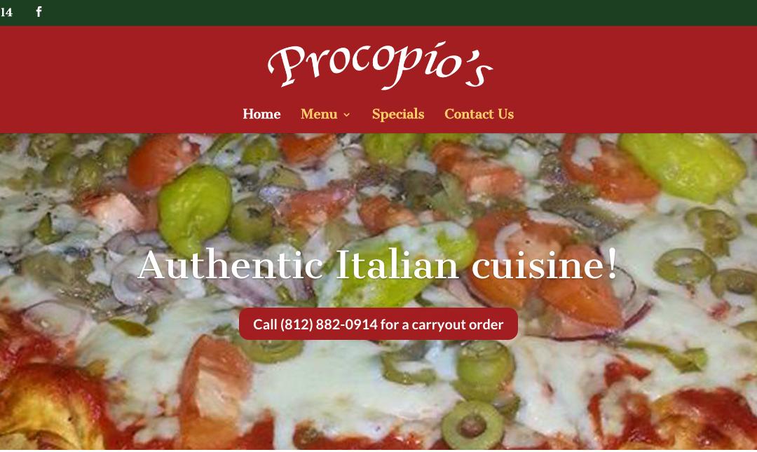 Procopio's Pizza & Pasta website
