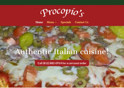 Procopio's Pizza & Pasta website